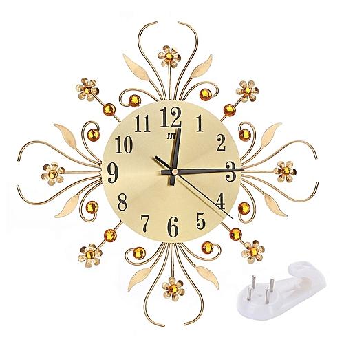 Wall Clock European Wrought Iron Luxury Diamond Fashion Living Room Decord Golden