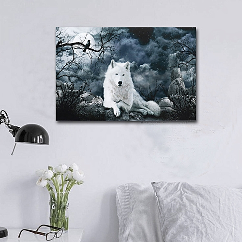 51x76cm White Wolf Canvas Wall Art Painting Print Pictures Home Decor Frameless