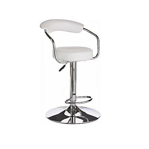 Chrome Bar Stool With Backrest - White