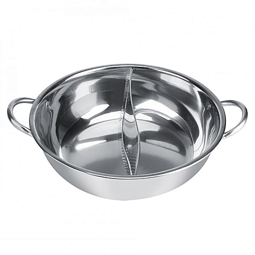 Thick Stainless Steel Hot Pot Two Flavor Separation Induction Cooker Usable 29cm