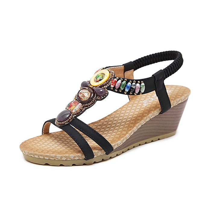 6b7f1f447a Hot Sale Large Size Female Sandals Beaded Bohemian Shoes Woman Sandals Wedge  Platform Shoes-black