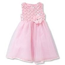 c4b3bdb4d27 Little Girls  039  Basketweave Crinoline Skirted Dress - Pink