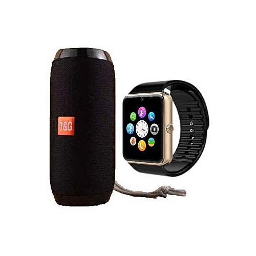 Portable Bluetooth Speaker TG-117 Black Plus Smart Wacth