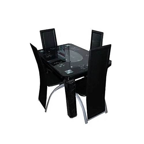 Exquisite Glass Dining Table - 4 Seater - Black