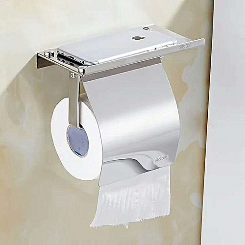 Toilet Paper Holder With Phone Shelf Roll Tissue Box