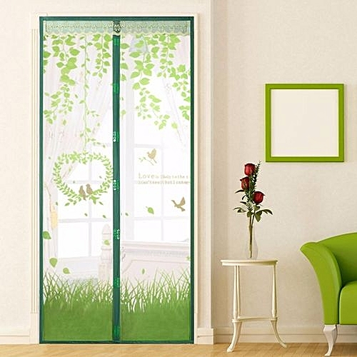 Magic Mesh Magnetic Screen Door Mosquito Net Curtain Protect From Insects Green