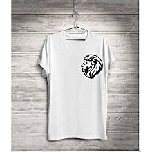 bd188580d6e Lion Pocket White Round Neck Polo T-shirt For Men