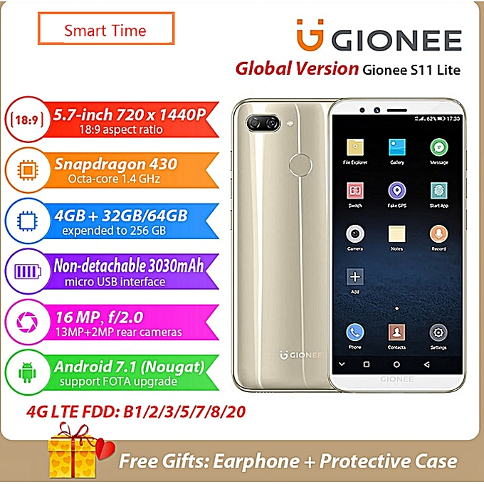 Gionee S11 Lite Phone 4GB + 64GB 5 7inch 16MP Camera Android 7 1 Snapdragon  430 Octa Core Fingerprint 4G Smartphone