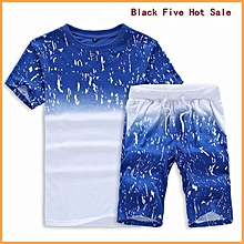 97f67478 2 Piece Set Men's Round Neck Short Sleeve Shorts Set