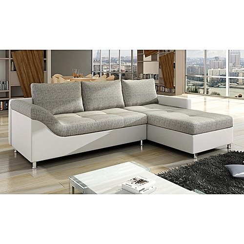 L-shaped Sofa . Leather & Fabric.Order Now And Get OTTOMAN Free (DELIVERY ONLY IN LAGOS)