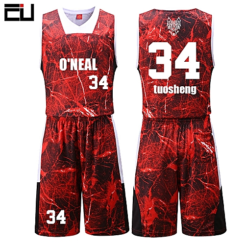 Eufy New Customized Brand Men's Basketball Team Sport Jersey Uniform-Red(3021)