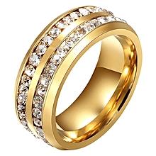 Double Rows Rhinestones Anium Steel Ring Golden Us 10
