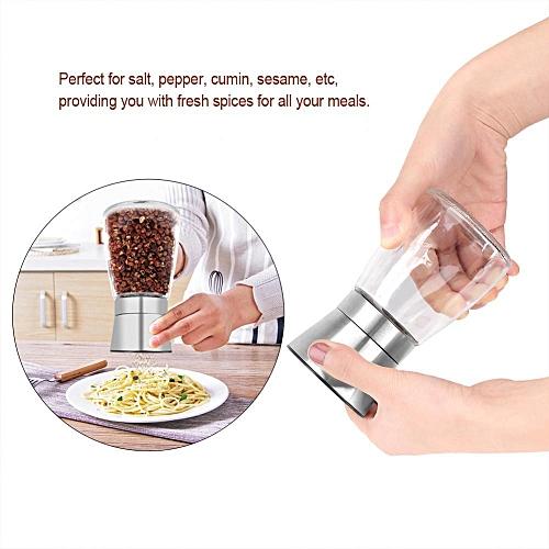2Pcs Stainless Steel Kitchen Salt & Pepper Mill Grinder Adjustable Ceramic Rotor