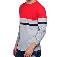 124b915dc25e Men Grey Melange & Red Colourblocked Round Neck T-Shirt