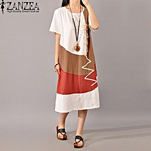 4556c56ad28 ZANZEA Women Vintage Print Casual Loose Dress Mid-Calf Length Kaftan Dress  Ladies Short Sleeve