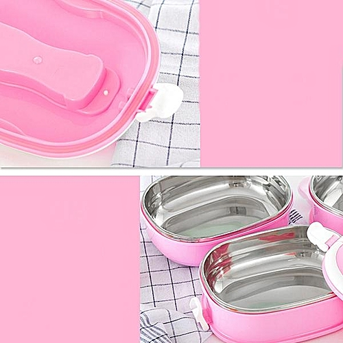 Stainless Steel Lunch Box Rectangular Student Bento Box Single Three - Layer Fresh Box#Two Layers