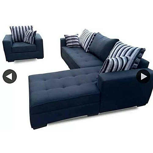 L Shaped + Single Sofa. BLACK. Order Now And Get OTTOMAN Free (DELIVERY ONLY IN LAGOS)