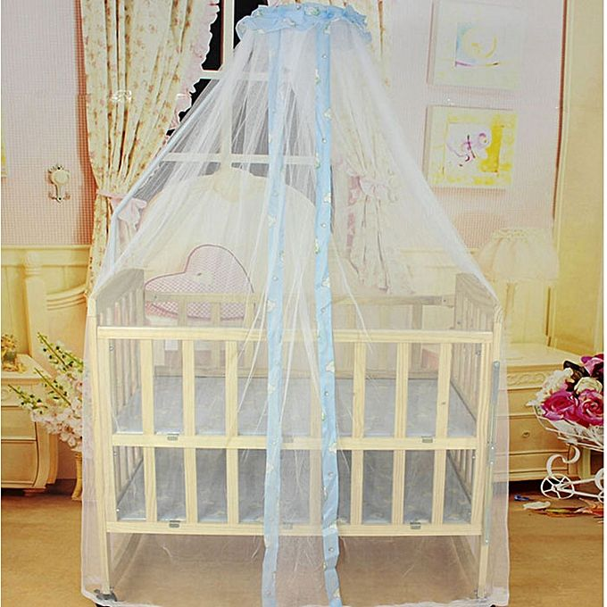 Neworldline Summer Baby Bed Mosquito Mesh Dome Curtain Net For Toddler Crib Cot Canopy Blue