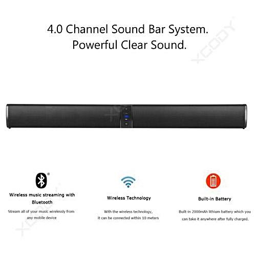 Wireless Detachable TV/Bluetooth Soundbar& Dual Bass Speaker