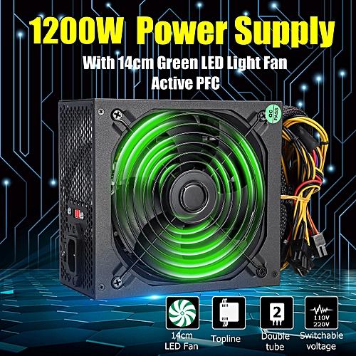 1200W Computer Power Supply PC PSU 24Pin SATA 6Pin 4Pin Quiet LED Fan 80
