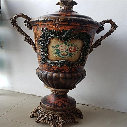 Oriental Style Large Trophy Vase With Lid