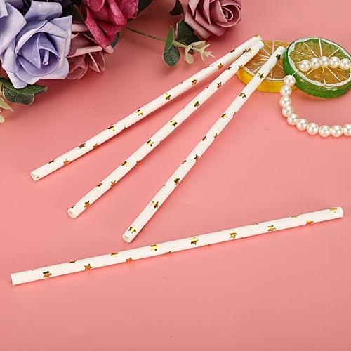 25Pcs Iridescent Drink Paper Straws Wedding Birthday Party Drinking Straw Cake Scoop Wedding Party Favor
