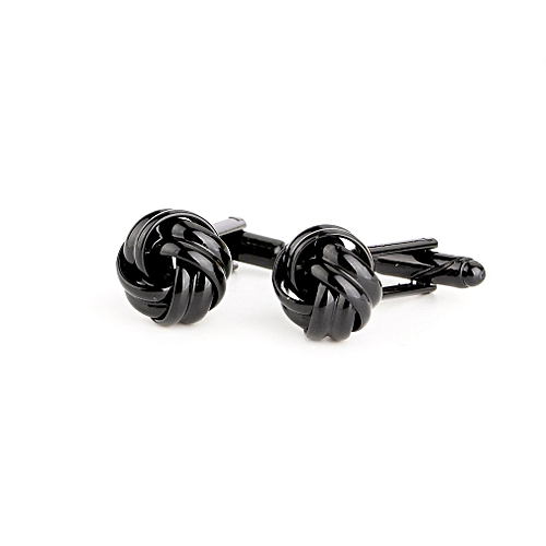 Stainless Steel Men's Wedding Party Smooth Knot Twist Cufflink Black
