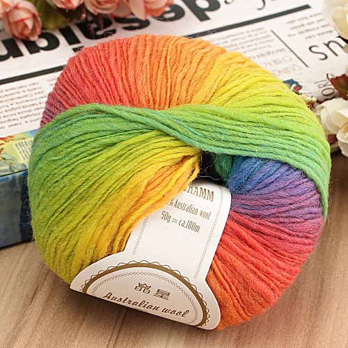 50g Soft Chunky Knitting Crochet Yarn 100% Fine Wool Ball Colorful Craft Yarn-11