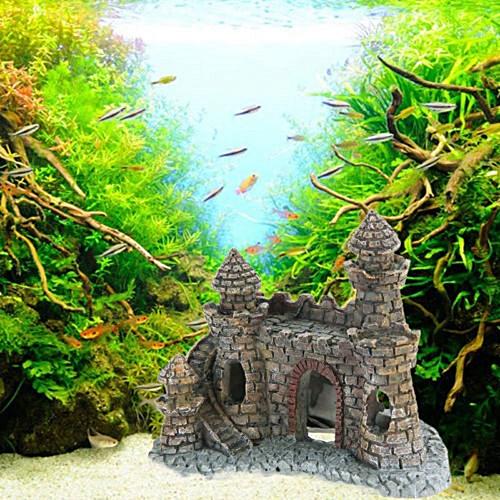 Hiamok_Vintage Resin Castle Aquarium Ornament Home Fish Tank Landscape Decoration New