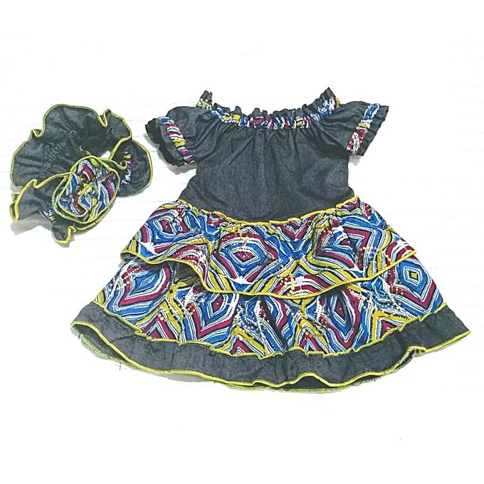 97e5f009a Fashion Baby Girl Ankara Denim Mix Dress