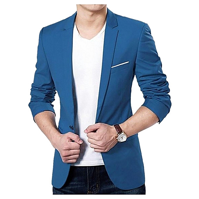 Fashion Men Slim Fit Formal One Button Suit Business Blazer Coat Jacket  Tops -Blue 58edf614f39e1