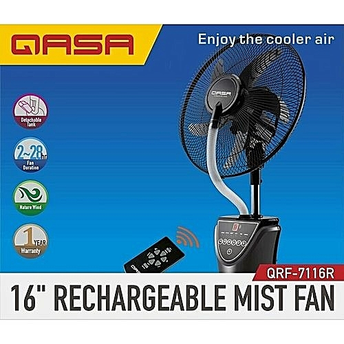 16-Inch Rechargeable Mist Fan With Remote Control