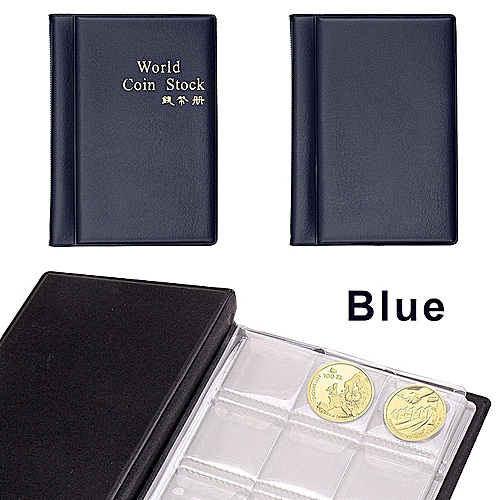 120 Coins Blue Album Coin Money Penny Collecting Book Holders Collection Storage