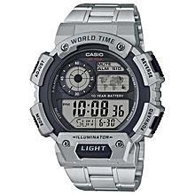 bbf5473173b AE1400WHD-1AV Men  039 s Quartz Illuminator World Time Stainless Watch