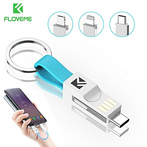 FLOVEME For IPhone X XS Max XR 6 7 Plus HUAWEI Samsung Xiaomi Charger Data Sync 3 In 1 Mini Keychain USB Cable Micro USB Type C