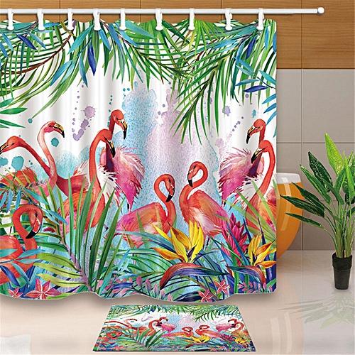 Tropical Flowers Flamingo Waterproof Bathroom Shower Curtain Floor Mat 12 Hooks