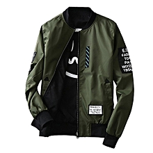 28d334fcd52 Wind Breaker Men Jacket With Patches Both Side Wear Thin Bomber Jacket Coat