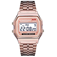 42a54f275ea LED Digital Wrist Watch Ultra Thin Alarm Wrist Watch Calendar For Men Women  Rose Gold