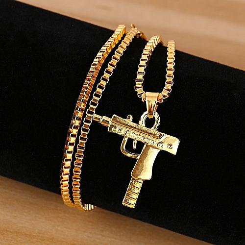 Special Personality Fashion Men Necklace Hip Hop Style Men Gun Shape Alloy