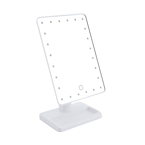Square Shpe Desktop Adjustable Brightness LED Facial Makeup Cosmetic Mirror White