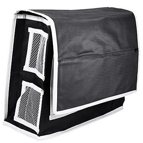 6 Pockets Beside Storage Mattress For Headboard Bed Bathroom (BLACK)