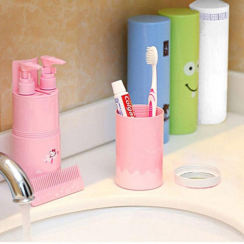 Honana Portable Travel Toothbrush Holder Wash Cup Case Toothpaste Storage Box Tube Storage Toothpaste Mirror Comb Shower Gel / Shampoo Bottle Organizer Container