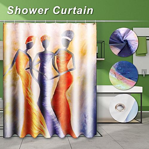 150cm/180cm Polyester Waterproof Bathroom Hanging Bath Shower Curtain + 12