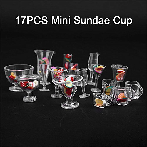 Mini Wine Cups Ice Cream Sundae Cup Delicate Clear Plastic Bar Kitchen Dollhouse Miniature Cups Clay Containers