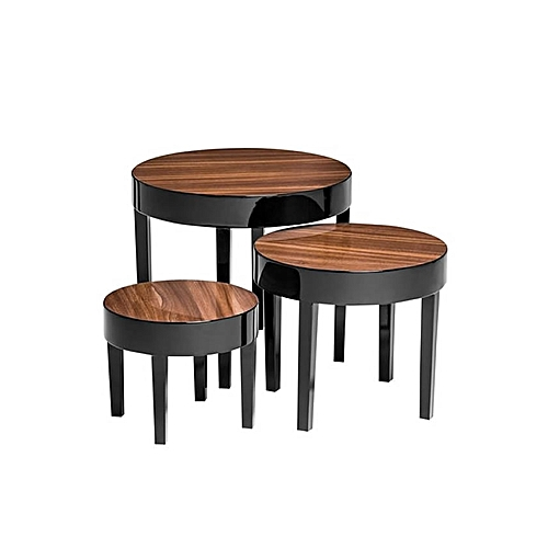 Set Of 3 High Gloss Nest Pear Wood Tables