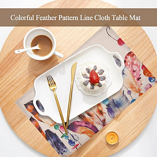 Minxin Colorful Creative Feather Pattern Linen Table Mat Insulation Pad Dining Room Home Decor #1