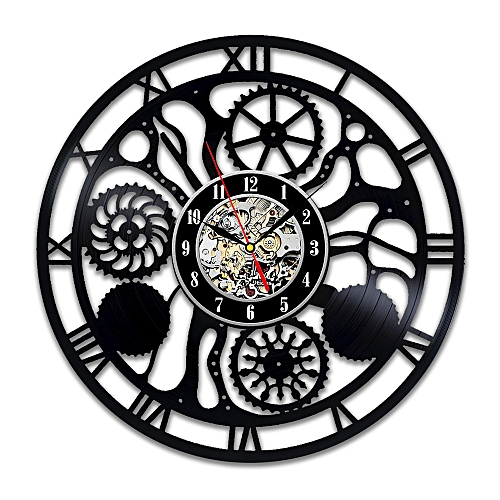 Steampunk Vinyl Wall Clock Family Gifts Fan Cog Wheels Art Living Room Accessories Decor Details Cogs Modern Gifts Parts Gears Abstract Expressionism Mechanism Decorations