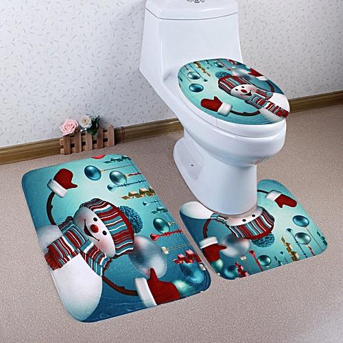 Christmas Baubles Snowman Pattern 3 Pcs Toilet Mat Bath Mat -