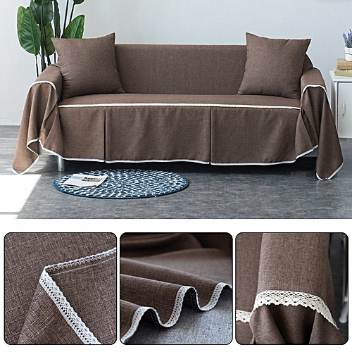 3 Seat 215*300cm Couch Slipcover Linen Fabric Sofa Cover Pillowcase Decoration