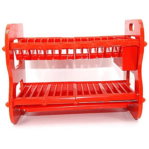 2 Tier Plastic Plate Rack - Red""